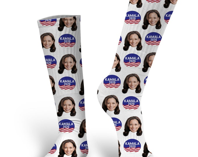Custom Face Socks,  Harris Socks, Kamala Harris, Kamala Harris Face Socks, 2020 Presidential Socks, Presidential Socks