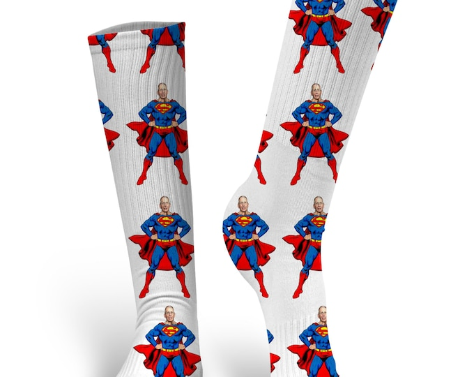 Dr. Fauci Superman Socks, Custom Face Socks, Dr. Fauci Socks, Dr Fauci Socks, Dr. Fauci Face Socks, Anthony Facui Socks