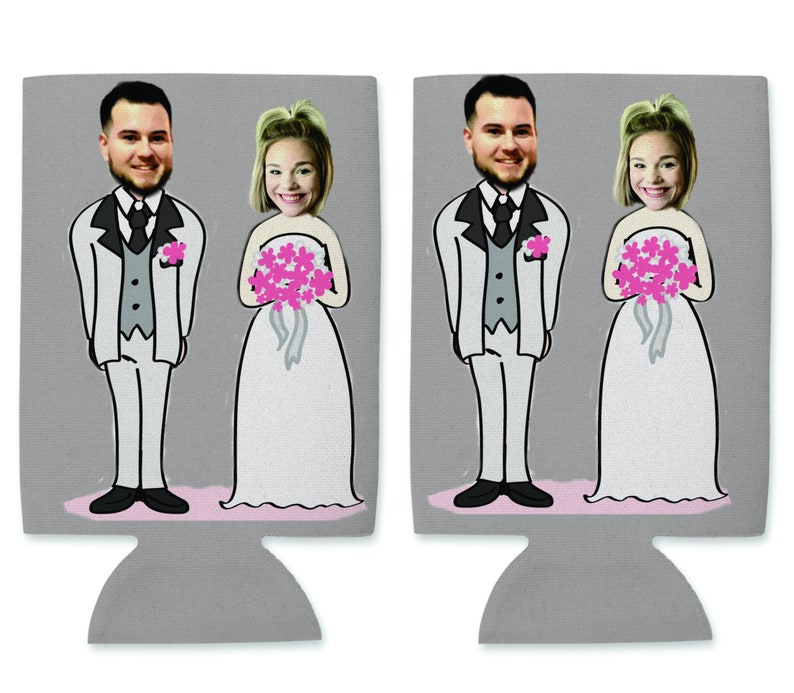 Custom Photo Wedding Koozi Wedding Koozi Bride and Groom Koozi Custom Koozi Can  Coolers