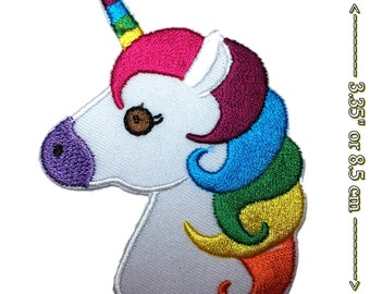Pretty Unicorn Head L Embroidery Applique Patch Sew Iron Badge Iron On
