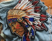 Native American Indian Chief Sew Iron on Embroidered Big Back Patch