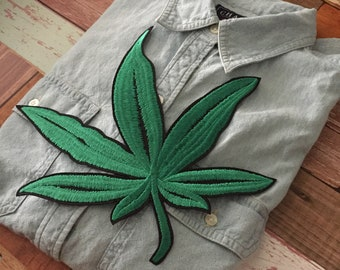 "Marijuana PATCH 4.5/"" Iron-on embroidered Weed Pot Leaf Vintage Colorful Rasta"