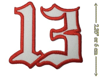 LUCKY 13 NUMBER THIRTEEN PATCH EMBROIDERED IRON ON biker vest outlaw nostalgia