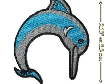 """Dolphin Gray Embroidered Iron On Patch 3 7//8/""""W R Aquarium Ocean"""