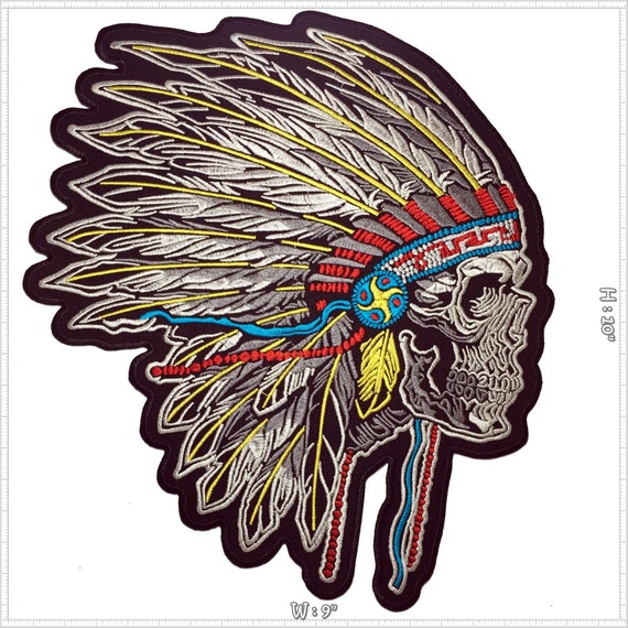 NATIVE NORTH AMERICAN RED INDIAN CHIEF HEAD IRON//SEW ON QUALITY PATCH UK SELLER