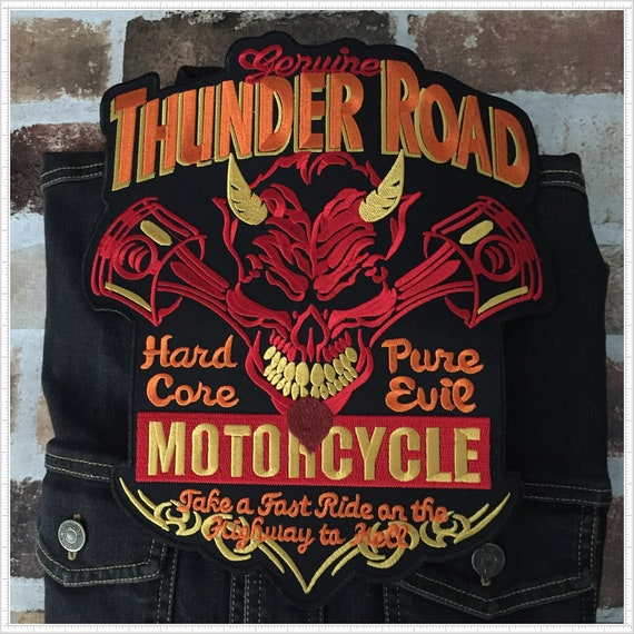 Large Size Thunder Road Devil Patch Motorcycle Biker Jacket Full Back Patches