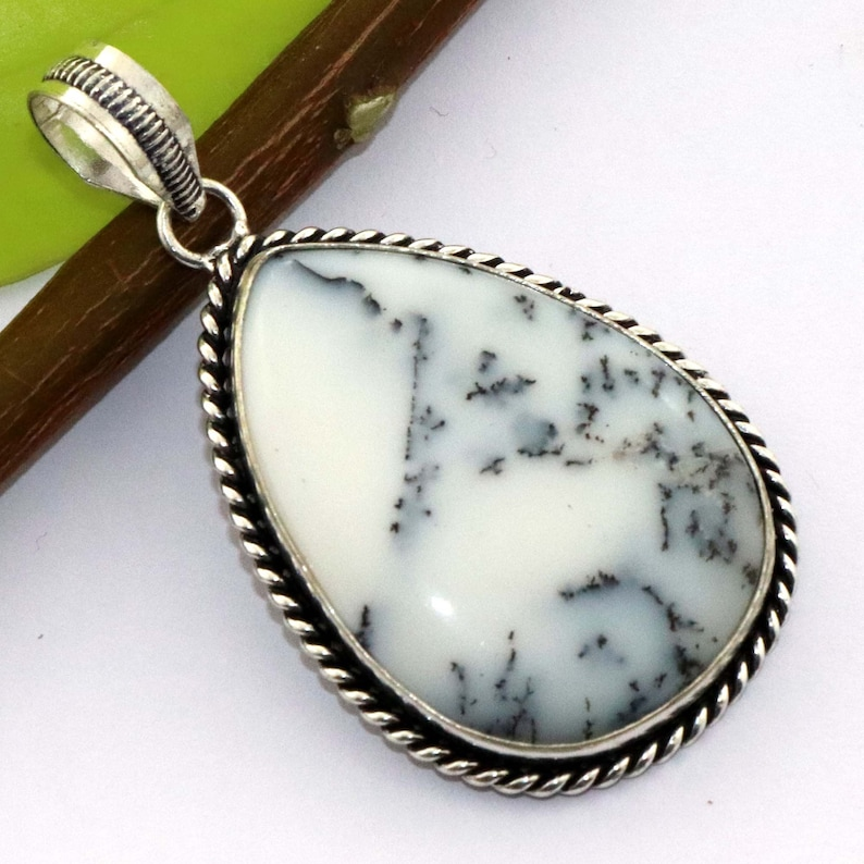 Natural Dendrite Opal Handmade 925 Sterling Silver Plated Gemstone Pendant Jewelry