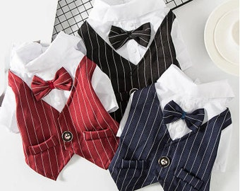 Custom Gentleman Dog Wedding Suit, Formal Shirt For Small Dogs, Bowtie Dog Clothes, Tuxedo Pet Halloween Christmas Costume For Cats-vinyl