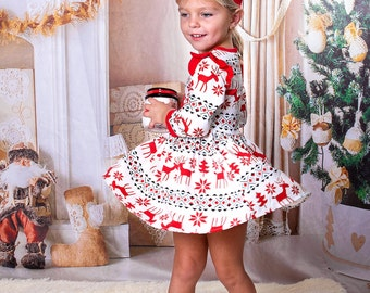 50% OFF! Christmas Girls Dress, Christmas Set for Girls, Xmas outfit for kids, Red Ruffle Christmas Dress with headband, Girls Red Dress