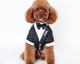 Dog Custom Tuxedo wedding outfit with bow tie, dog tux, dog clothes, bow tie, dog wedding, puppy tuxedo-vinyl