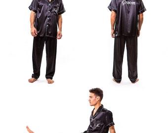 SALE Personalized Men's Pajama Set, Satin Pajamas, Father's Day Gift, Custom Name Men's Gift, New Dad Gift Set, Custom Pajamas for Him S+L