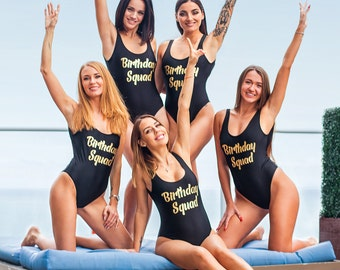 Birthday Party Custom Swimsuits, Personalized Swimsuit, One Piece Swims, Your Text Swimsuits, Bachelorette Party Swimsuits -vinyl