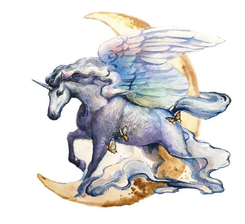 Laser-cut wooden puzzle Unicorn Unicorn Wings image 0