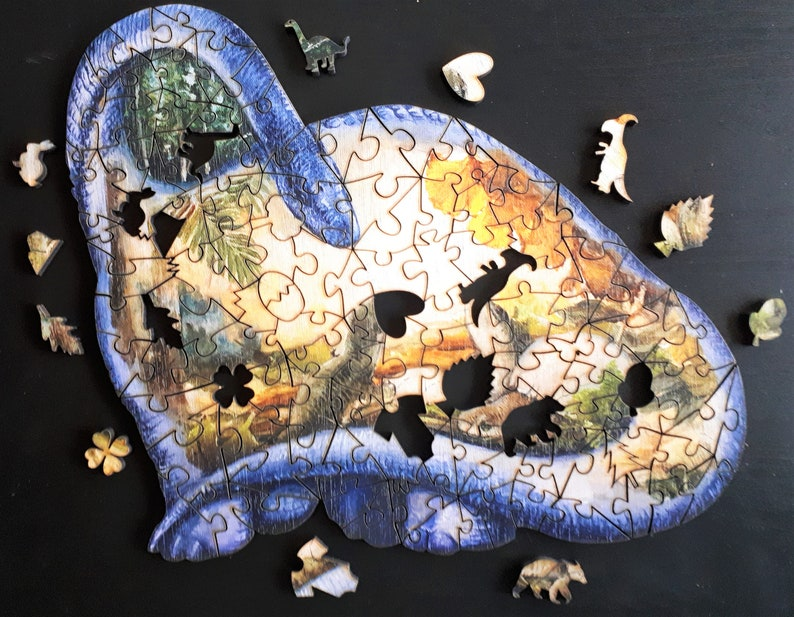 Wooden puzzle Dinosaur New born for adult and child with image 0