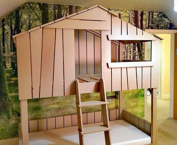 Kids Childrens Treehouse Bunk Bed Handmade Solid Wooden Etsy