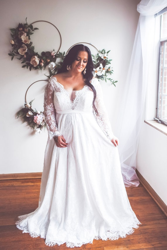 Plus Size Wedding Dress Aurora For The Plus Size Bohemian Etsy