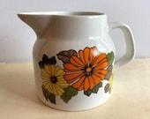 H Aynsley Ironstone Pitcher, Creamer, Staffordshire, England, Orange Flowers, Yellow Flower, Ironstone, Retro Dishes, Retro Home