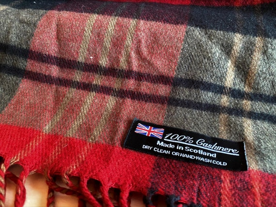 Cashmere Scarf, Scotland, Green and Red Tartan Sca