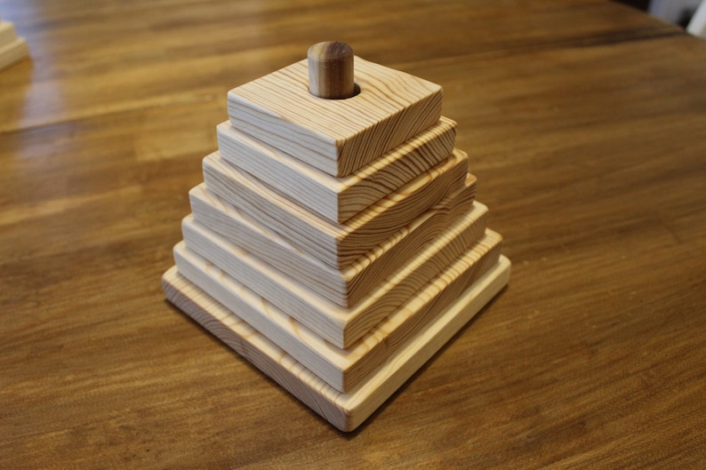 Handmade Wooden Stacker Wood Block toy Unfinished or Lightly Stained Sanded Primitive Decor Rustic Country Kids Unique Farmhouse Wooden
