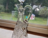 Brilliant Cut Lead Crystal Cruet Faceted Stopper Starburst Pattern Floral Base