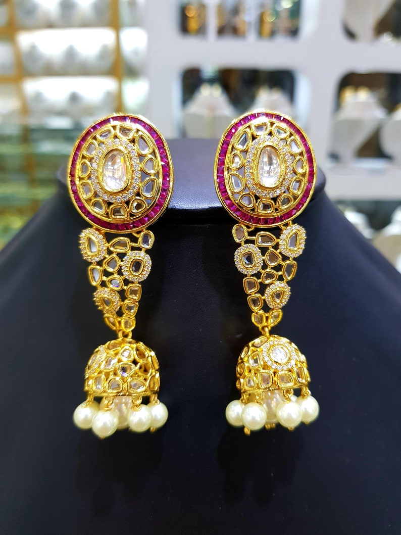 Exclusive Pearl Long Jhumka Kundan Polki Silver Earrings,Sabyasachi jewelry,Kundan Earrings,Polki jewelry,Kundan jewelry,Indian jewelry