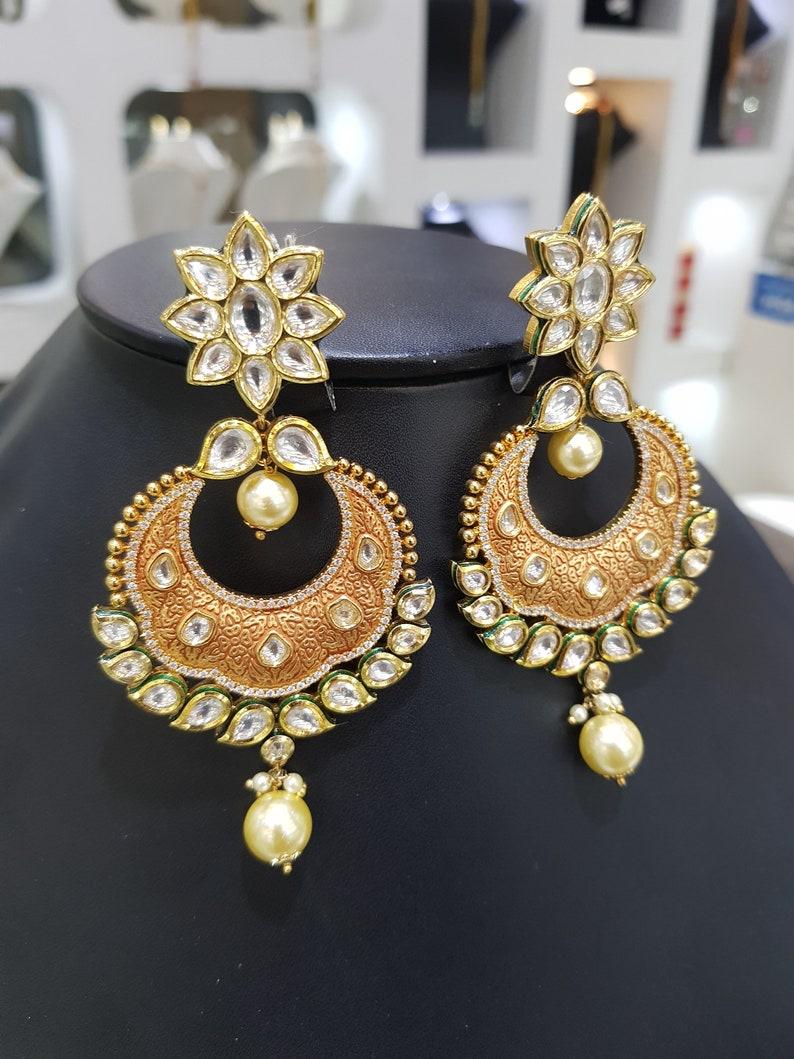 Sabyasachi jewelry,Kundan Earrings,Polki Earrings Kundan Earrings Kundan Polki Jadau Silver Chandbali Earrings Gold Green Jadau Chandbali