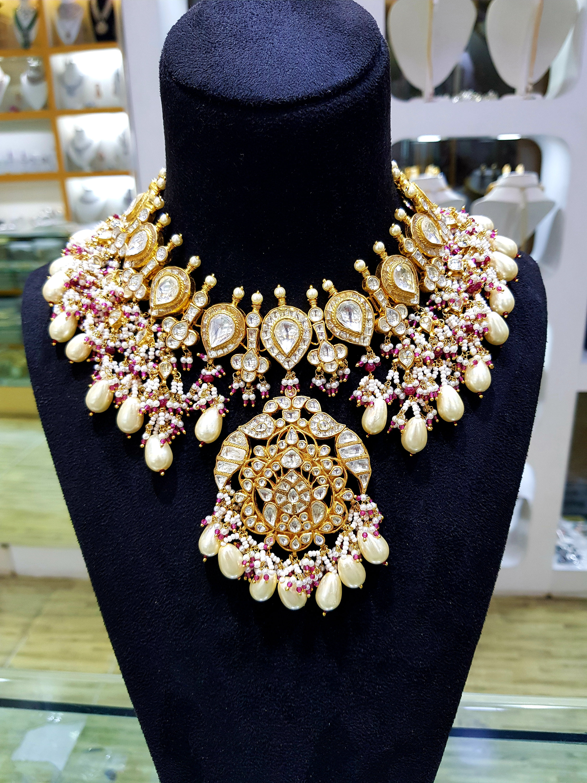 Bridal traditional kundan and pearl necklace set, jadau jewelry set, indian  meenakari wedding jewelry, traditional emerald bridal set
