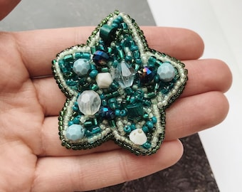 Beaded Brooch star,  Brooches for women, handmade, Bead embroidery brooch, Original gift for her