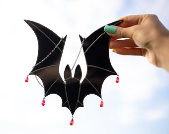 Black Stained Glass Bat Suncatcher Horror decor Halloween gifts