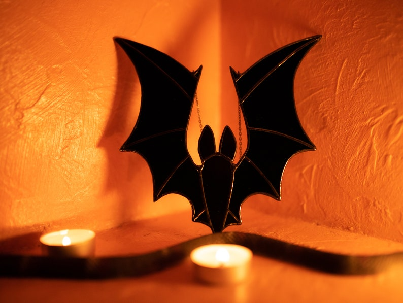 Indoor Halloween Party Props Home Fall Decor For Window Cool Room And Kitchen Scary Hanging Stained Glass Bat Halloween Decorations
