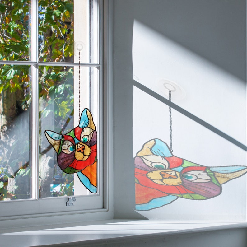 Christmas gifts for mom Stained Glass Cat Suncatcher Perfect image 2