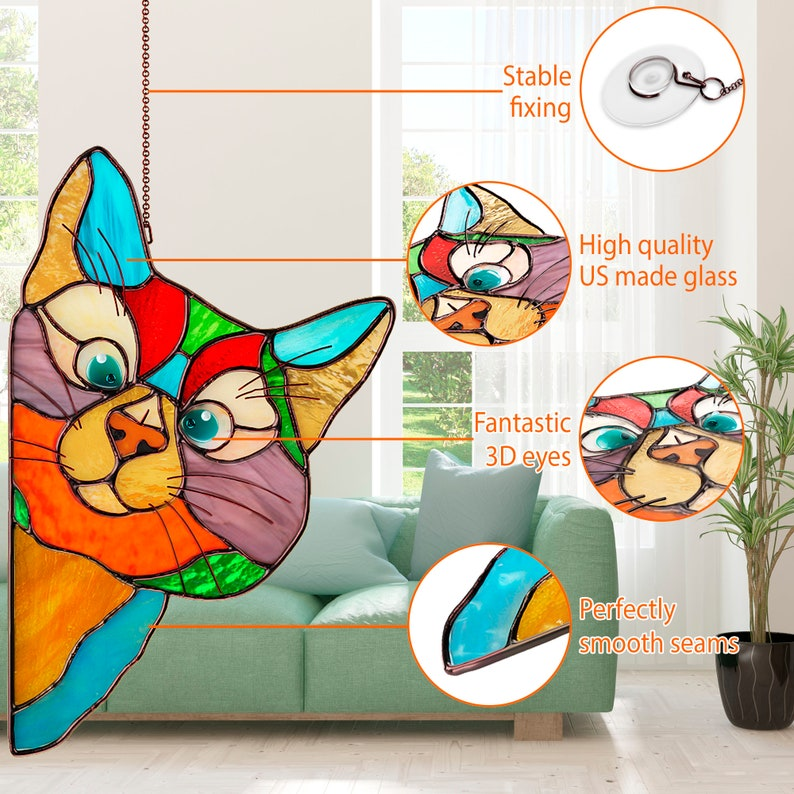 Christmas gifts for mom Stained Glass Cat Suncatcher Perfect image 1
