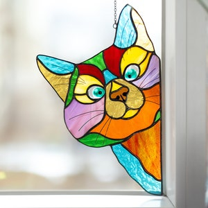glass window hangings 3pcs green stained glass for kitchen cat decor cat stained glass window cat glass decor stained glass cat iusaSDZ Peeking Cat stained glass window hangings