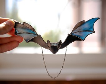 Stained glass bat decor Halloween bat Stained glass window hangings Halloween decor