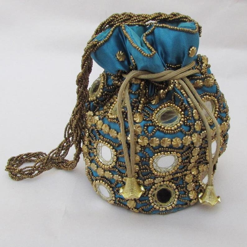 Christmas Festivals Gifted Party Wear Potli Bags Boho Colorful Handmade Bags Mirror work Handmade Party Wear multicor Purse  Lot Of Mix 5PCS