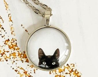 Gothic Witch Wiccan Jewelry Peeking Black Cat Pendant Alternative Jewelry Cat Jewellery Cat Lover Gift Cat Necklace Cute Peeping Cat