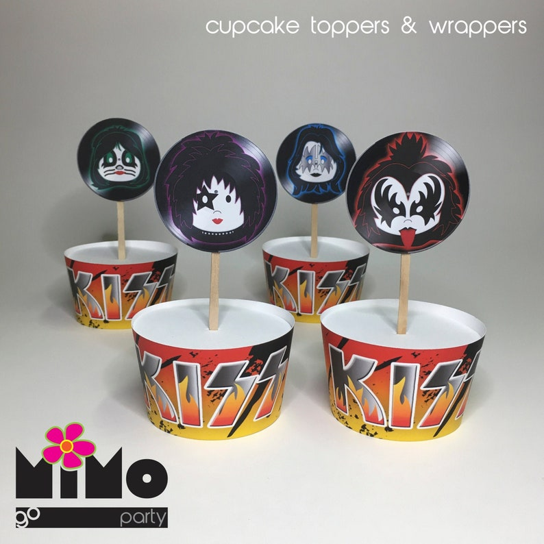 Kiss Band Cupcake toppers and wrappers. Retro Rock'n Roll image 0
