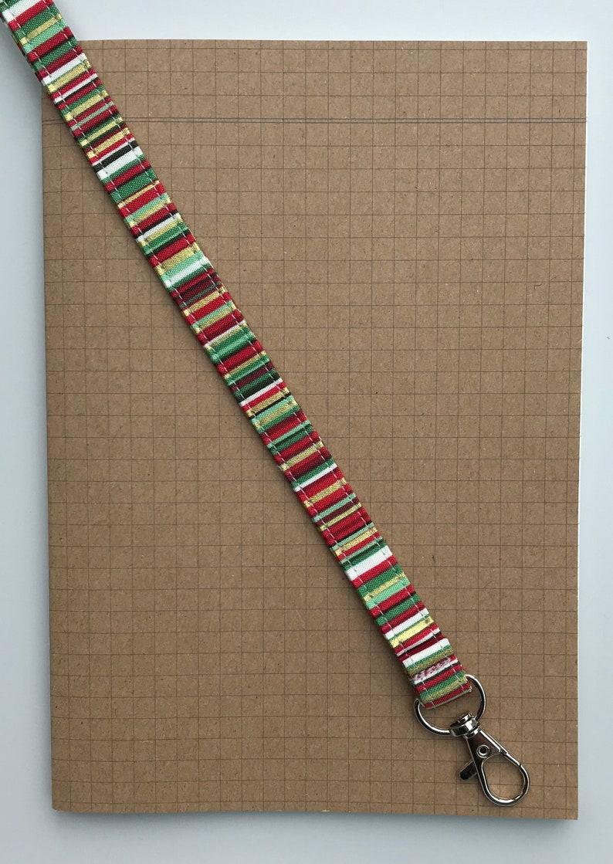 Gold /& red stripe fabric lanyard
