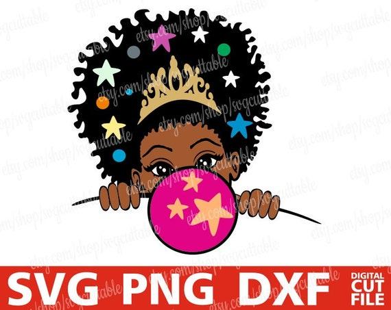 Peek a boo girl Peeking girl with bubble gum svg Cricut file Cut File Melanin poppin Black girl magic Silhouette,Instant download