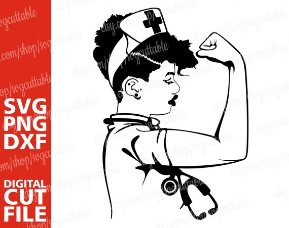 Stethoscope svg Medical svg Silhouette Girl Power scrubs Nurse svg File for Cricut Black Woman Strong Black Woman svg