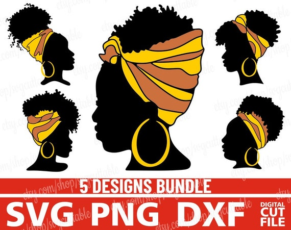 5x Afro Black Woman Head Band Bundle Svg Hairstyle Woman Svg Etsy
