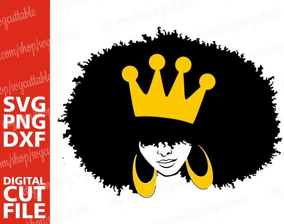 Black Girl Afro With A Crown Svg Afro Lady Svg File Africa Etsy