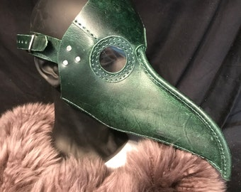 Genuine Leather Steampunk Handmade Hand Stitched Plague Doctor Mask With Beak Green Crazy Cow Leather Face Mask Costume