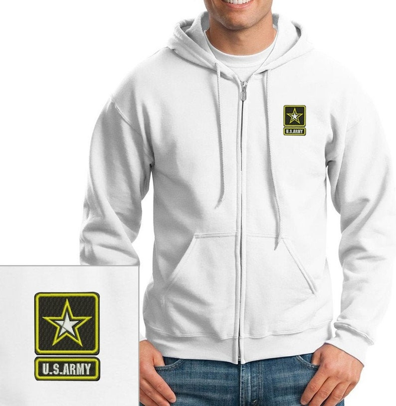 United States Army Black Zippered Hooded Sweatshirt 50//50//Cotton//Polyester