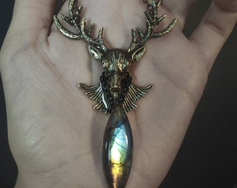 Deer necklace with labradorite, in 4 pieces available