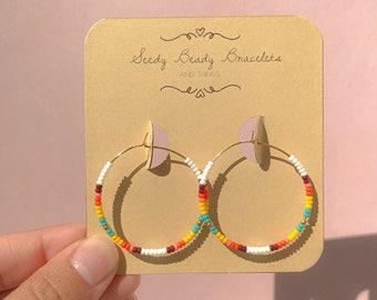 Colorful Seed Bead Hoop Earrings