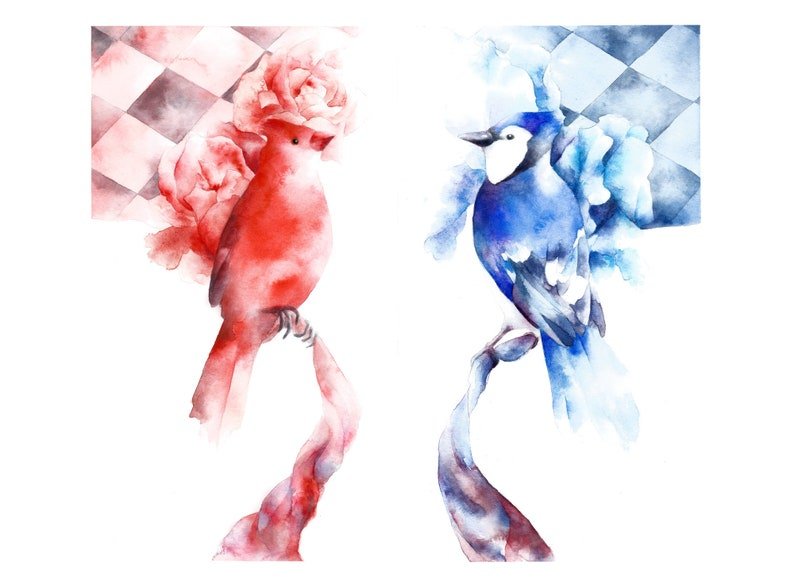 This Is How You Lose the Time War  Watercolour Birds  Red image 0