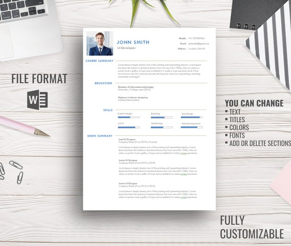 Resume Template Cv Template Creative Resume Professional Resume Microsoft Word Resume Templates