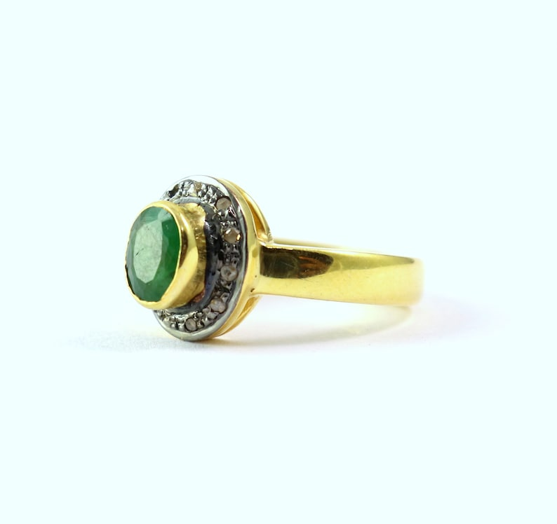 Amazing 925 Sterling Silver Ring Natural Emerald And Pave Diamond Handmade Ring Round Shape Ring Antique Finish Ring Victorian Style Ring