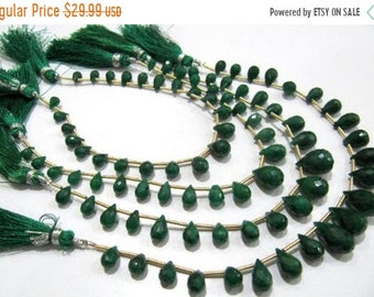 Long Drops ON SALE Emerald Tear Drop Beads Faceted Fancy Emerald Straight Drilled Tear Drops Beads Strand 15 inch Long 5X7mm to 8X12mm